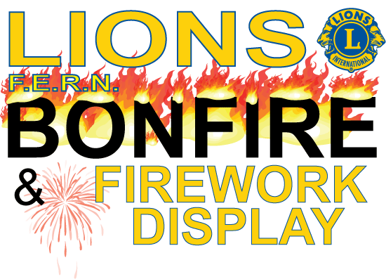 FERN bonfire and firework display sign